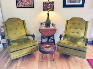 Two Vintage Rocking Parlor Chairs, green striped velour. Solid wood details with metal bottoms. Very, very heavy. for Sale in Lincolnia, VA