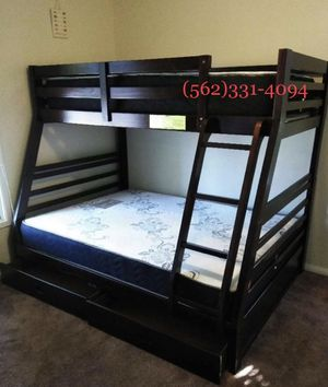 💥On sale new Expresso all wood bunkbed with drawers and mattresses included💥 for Sale in Fresno, CA