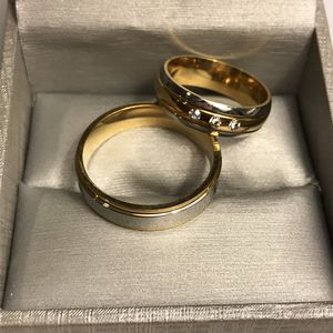Unisex 18K Gold plated Wedding Band Ring Set- Table Cut Lab Diamond 💎 for Sale in Houston, TX