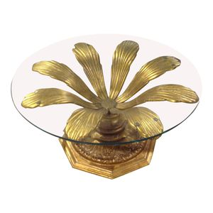 Hollywood Regency Gold Florentine Glass Top Coffee Table for Sale in West Palm Beach, FL