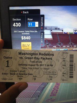 2 TICKETS GREEN BAY VS REDSKINS for Sale in Manassas, VA