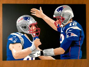 Commissioned painted for David Andrews of him and Tom Brady! for Sale in New England, ND
