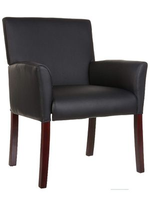 Classic Reception Office Chair with Mahogany Wood Finish Legs - Black for Sale in Puyallup, WA
