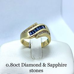 14k Yellow Gold Diamonds & Sapphire Ring for Sale in Tustin,  CA