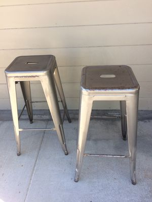 STOOLS - Set of 2. INDUSTRIAL METAL. STACKING. Like New. Non Marking Foot Glides. Pick up in Escondido $24.00 ea for Sale in Escondido, CA