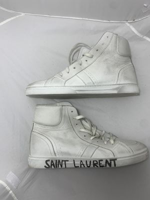 Saint Laurent Men's Joe Leather Mid Top Sneakers - White sz 12 for Sale in Columbus, OH