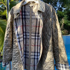 Authentic Burberry London Nova Check Quilted Gold Snap Button Rare Jacket Medium for Sale in Boca Raton, FL