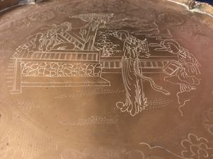 Antique chinese brass tray hand carved for Sale in Los Angeles, CA