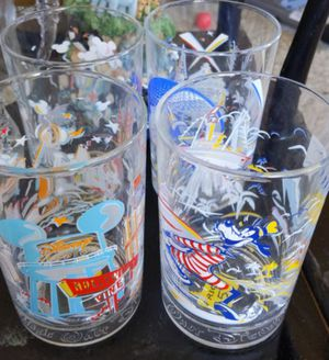 Walt Disney world remember the magic McDonald's 25th collection of 4 Glass Cup for Sale in Pasadena, TX