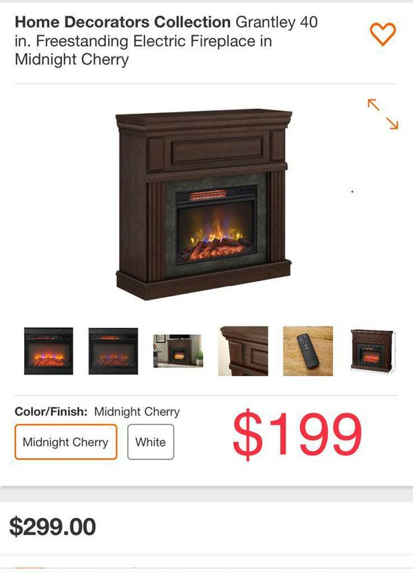 Home Grantley 40' freestanding electric fireplace in midnight cherry