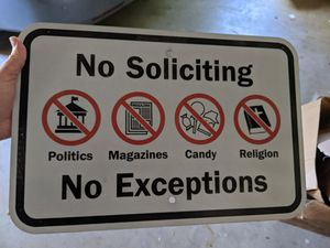 Large metal no soliciting sign for Sale in Whitney Point, NY