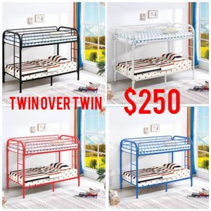 Twin over twin metal bunk bed for Sale in CHATT HILLS, GA