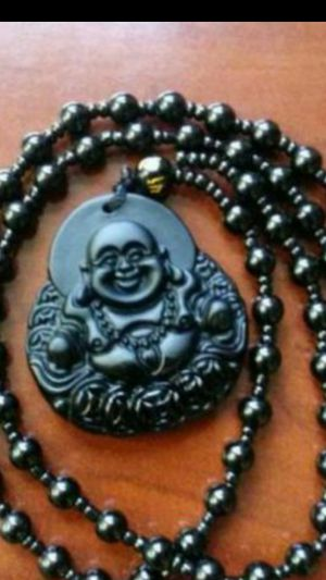 """Lot 5 pcs of Happy Buddha natural black Obsidian balancing energy lucky peaceful bead stone pendant 32"""" for Sale in Richmond, CA"""