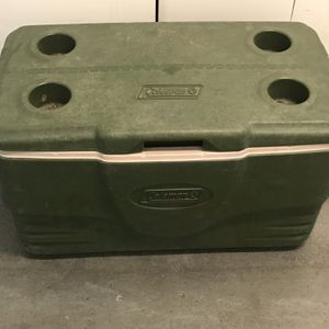 Coleman Large Ice Chest Cooler Army Green Color With Cup Holders for Sale in Phoenix, AZ