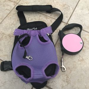 Nice! Like New! Pet Adjustable Carrier with Pink retractable Leash for Sale in Gainesville, VA