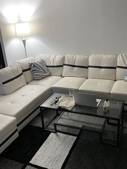 Brand New White And Black Leather Sectional Couch for Sale in New York,  NY