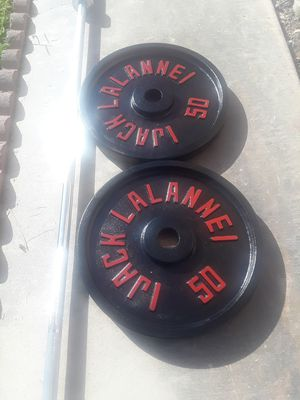 Weights 2 50lbs and Bar Olympic serious buyers only for Sale in Berenda, CA