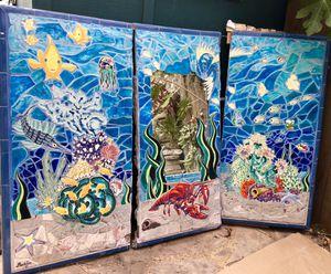 Custom mosaic art tile mural ocean marine fish seem bathroom pool house indoor or outdoor tapanga art tile for Sale in Santa Monica, CA