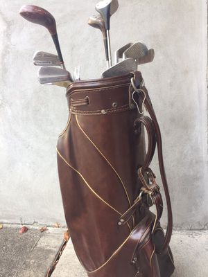 Leather Golf Bag with clubs for Sale in St. Louis, MO