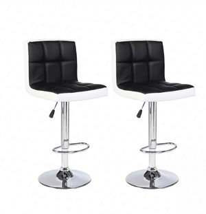 Bar Stools Set of 2 Leather Counter Height Bar Swivel Pub Chair Black and White New Home Office for Sale in Los Angeles, CA