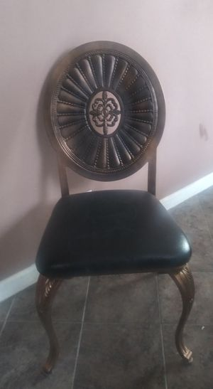 Solid metal antique chair with original leather seat for Sale in Denver, CO