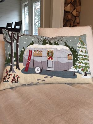 Pottery Barn Airstream Christmas Camper Crewel Embroidered Pillow Cover for Sale in Edmonds, WA