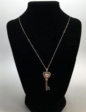 """14K GP Silver Key to My Heart Necklace IOB 18"""" chain, pendant- 1 9/16"""" x 9/16"""", diamond accent- less than 1mm Metal/Gemstones: 14K gold, plate, si for Sale in Pico Rivera, CA"""