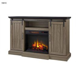 H.D. Collection Chastain 56 in. Freestanding Media Console Electric Fireplace TV Stand with Sliding Barn Door in Ash I for Sale in Dallas,  TX