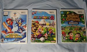 Wii games Mario Party 8 - Mario and Sonic Winter Games - Animal Crossing City Folk for Sale in Pompano Beach, FL
