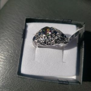127667380 Openwork Carved with Colorful Glass Drill 925 Sterling Silver Ring for Sale in Haines City, FL