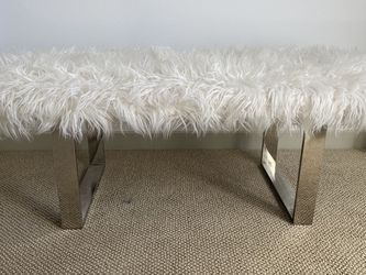White fur chrome ottoman bench for Sale in Marina del Rey,  CA