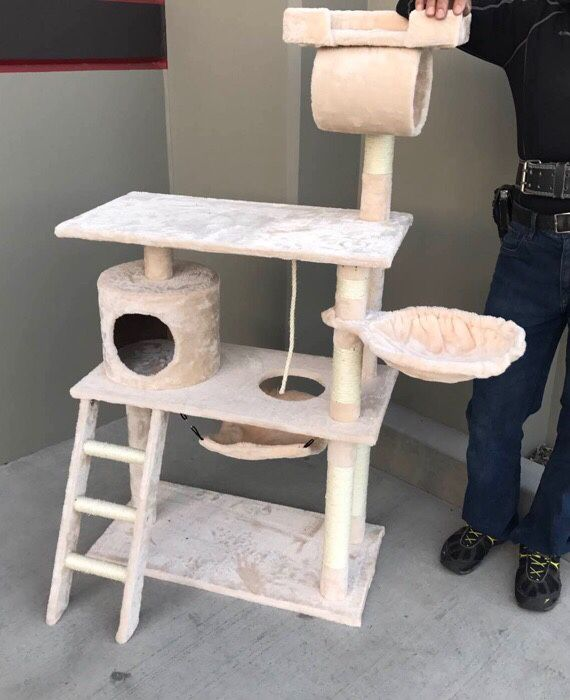 New in box 55 inches tall cat tree scratching play post pet furniture beige brown black or navy blue