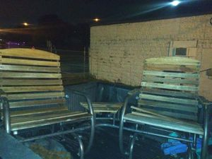 Slider outdoor chairs w/ attached side table for Sale in Tulsa, OK
