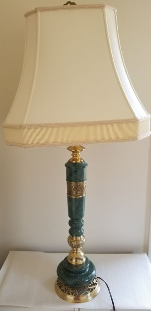 Lamp with green marble and gold stand for Sale in Rockville, MD