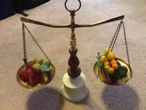 Vintage Antique Estate Sale Milk Glass Brass and Wood Kitchen Scales and Vintage Fruits for Sale in Fort Worth, TX