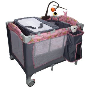 E19-4..... Foldable Baby Crib Playpen Playard Pack Travel Infant Bassinet Bed Music Pink for Sale in Diamond Bar, CA
