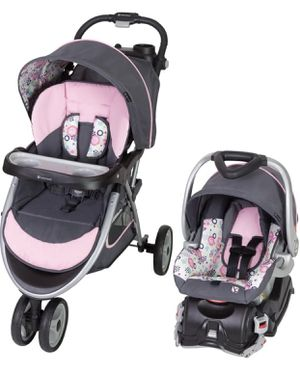 Baby Trend Skyview Travel System, Flora (complete system of car seat with base and stroller) for Sale in Las Vegas, NV