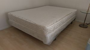 Queen metal wheeled frame bed box spring for Sale in Rowland Heights, CA