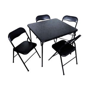 5 Piece Vinyl Card Table With 4 Metal Chairs for Sale in Englewood, CO