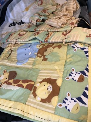 Crib bedding set plus 2 baby blankets! Need gone today!!! for Sale in Ontario, CA