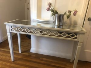 Modern white wood mirrored side runner console hallway table for Sale in San Francisco, CA