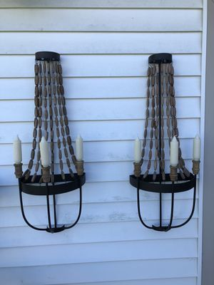 2 Wooden Bead Candle Sconces for Sale in North Royalton, OH