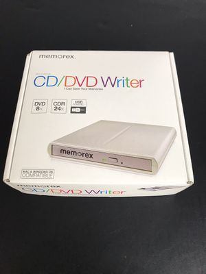 Memorex® External CD/DVD Writer Dependable DVD drive for safeguarding and sharing your music and videos. Auto-detect software and easy-to-use save fu for Sale in Buckhannon, WV