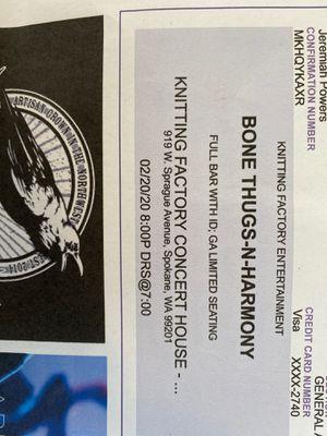 2 Bone thugs n harmony tickets for Sale in Spokane, WA