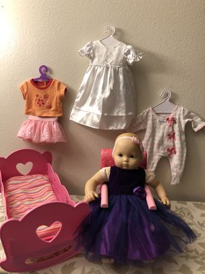 American Girl bitty baby set👧🏻🛍🎁🎀bitty baby doll + chair + music bed + clothes🎀🎁 for Sale in Mukilteo, WA