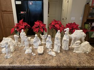 Large hand painted ceramic nativity set 18 pieces white for Sale in Queen Creek, AZ
