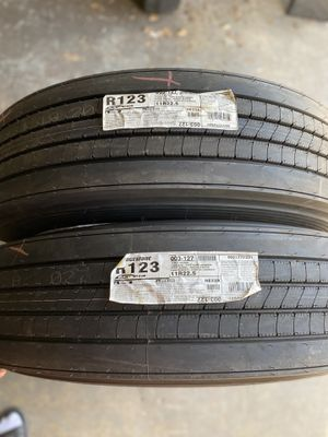2) 11R22.5 Bridgestone R123 Ecopia Trailer Tires. Brand New Load range G DOT: 0420 $850 for both I carry other sizes as well for Sale in Eddystone, PA