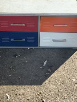 4 Drawer Storage Unit Metal And Wood Top That Is Removable And Can Be Screwed Down for Sale in Portland,  OR