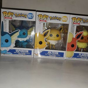 Pokemon Funko Eeveelution Lot Flareon,Vaporeon,and Jolteon for Sale in Rancho Cucamonga, CA