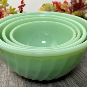 Vintage Anchor Hocking Fire King Jadeite Swirl Nesting Mixing Bowls 4 Piece Set for Sale in Hernando, FL